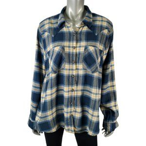 Maurices Blue Flannel Top Plus Size 1X